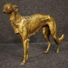 Scultura in bronzo stile antico statua cane levriero collezione arte 900 XX