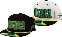 JAMAICA Snapback Green Yellow Flag Flat Peak Snap Back Cap Hat Black White