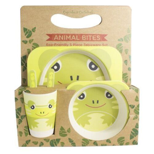Cupcakes /& Cartwheels Animal Bites Eco Friendly 5 Piece Tableware Set ~ Frog