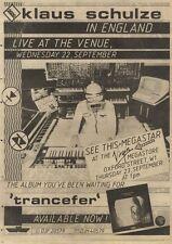 18/9/82pgn60 Advert: Klaus Schulze Album trancefer Available Now 15x11