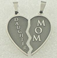 Mom Daughter Split Heart Necklace Mother Silver Stainless Steel