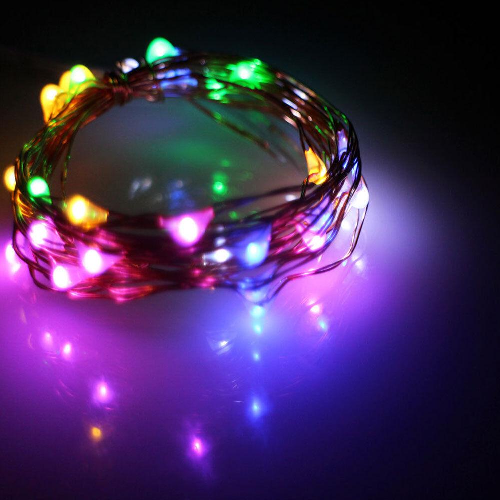 LED Draht Micro Batterie Lichterkette 10 LEDs 1m Farbe biegsam ...