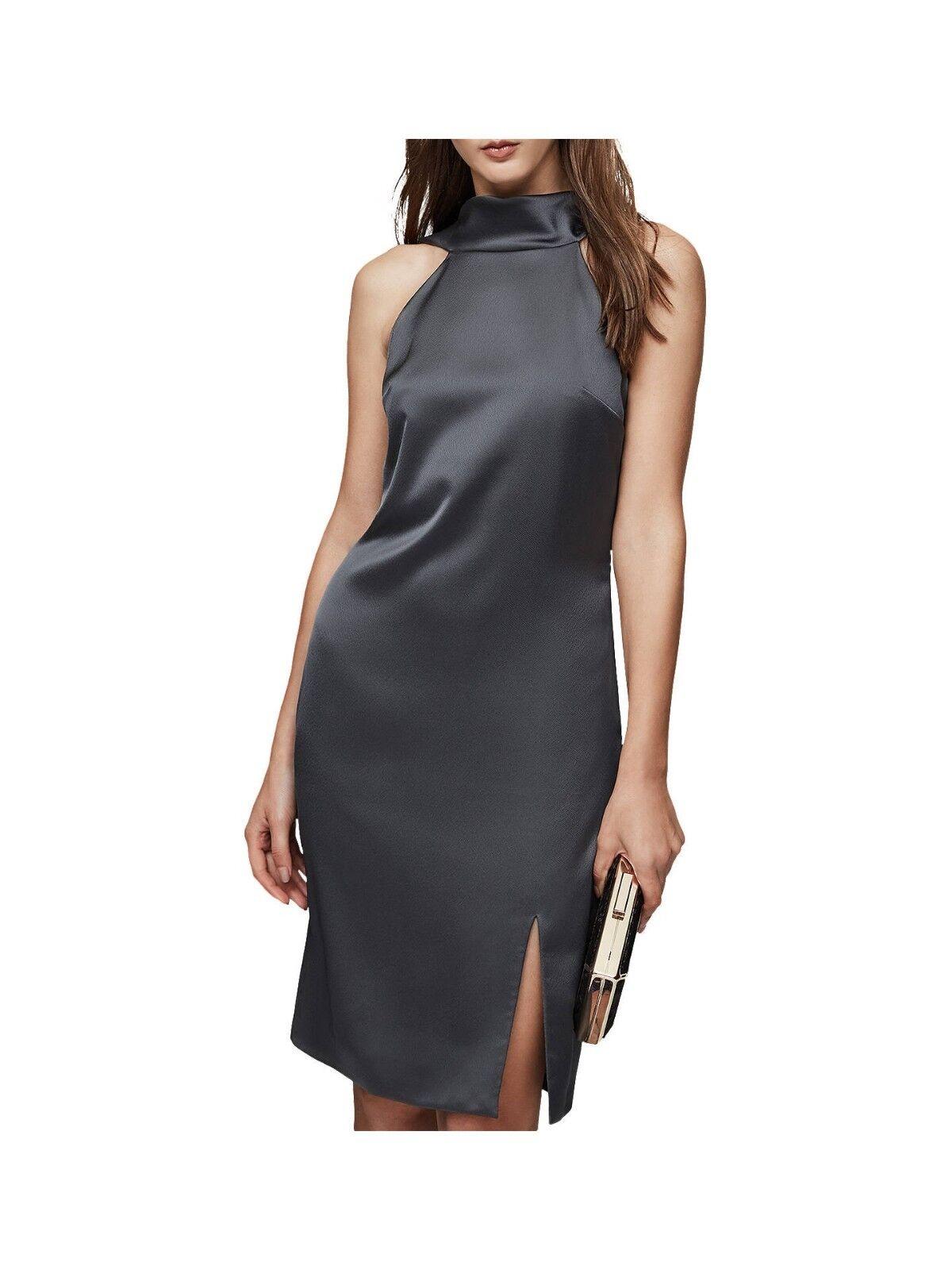 Reiss Mina grau High Neck Fluid Drape Cowl Back Cocktail Party Dress