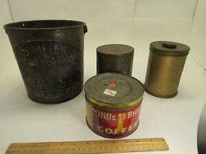 4-Vintage-Tins-Hills-Bros-Coffee-Swift-039-s-Silver-Lee-Lard-Chase-amp-Sanborn-Deco