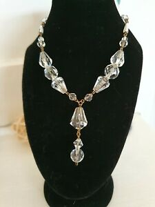 Art-Deco-Dainty-Czech-Crystal-Glass-Bead-amp-Gold-Link-Lavalier-Pendant-Necklace