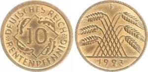 Weimar 10 Peniques 1923 Para Raro Año / Mzz. Y Conservación Prfr-Stempelglanz