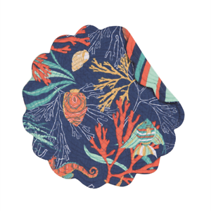 Seahorse Bimini Island Quilted Reversible Round C/&F Placemat Shells Fish