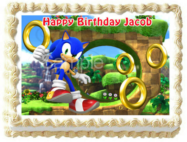 Edible Cake Image Cir Sonic And Shadow Cake Topper For Sale