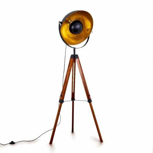 Vintage Steh Stand Boden Leuchten verstellbar Wohn Schlaf Raum Lampen Holz Retro