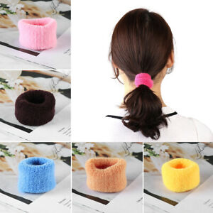 5Pcs-Women-039-s-Big-Wide-Soft-Rubber-Bands-Ponytail-Hair-Holders-Elastic-Hair-Rope
