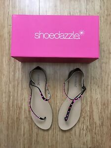 Shoedazzle-Haideh-sandals-T-Strap-Black-Pink-NEW