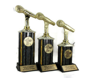 Karaoke-Trophies-Set-of-3-1st-2nd-3rd-Place-Open-Mic-Contest-Free-Text