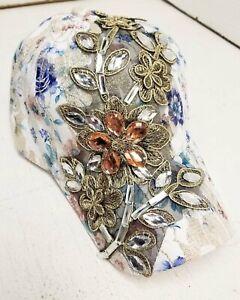 Women-039-s-Fashion-Jewel-Flower-Pattern-Baseball-Style-Hat-with-Free-Shipping
