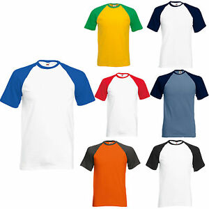 FRUIT-OF-THE-LOOM-SHORT-SLEEVE-BASEBALL-T-SHIRT-S-XXL