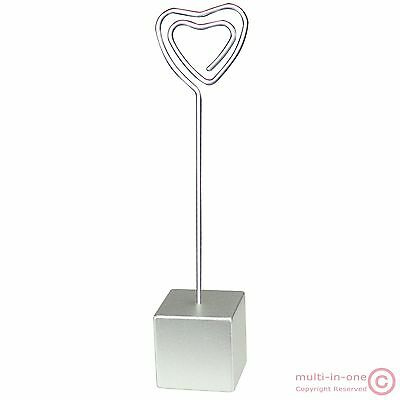 lot 50pc heart wire silver cube place card memo photo clip holders,wedding deco