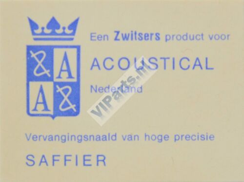 ACOUSTICAL SAFFIER Various Record Needles Stylus Sapphire . N.O.S.