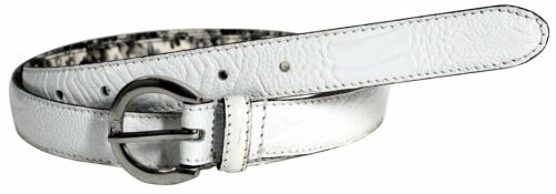 Womens Premium Leather White Crocodile Textured Silver Oval Buckle Belts M4XL