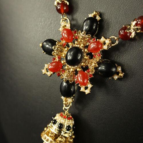 Collier Sautoir Pendantif Tassel Agate Rouge Noir Ethnique Baroque Retro FUN 1