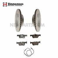 Bmw F30 F32 F33 Set Of 2 Rear Vented Disc Brake Rotors With Pads And Sensor