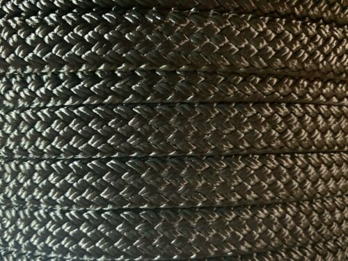 """High Quality US Made 3//4/"""" x 100 ft hollow//flat braid polyester rope Black"""