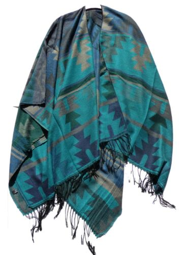 Poncho cape cape veste Ethno Look Knitwear mexicain rouge KAKI JAUNE NOIR 2