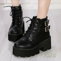 Womens Round Toe Platform Buckle Strap Block Heel Lace up Punk Gothic Ankle SHoe
