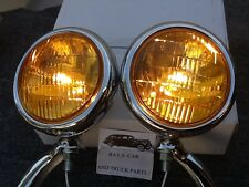 NEW PAIR OF 6 VOLT SMALL VINTAGE STYLE TYPE FOG LIGHTS WITH CHROME BRACKETS !