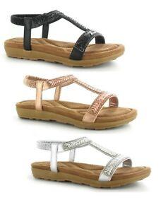 Senoras-mujeres-Bajo-Cuna-Diamante-ESLINGA-vuelta-Ortopedico-Suela-Sandalias-Zapatos-Talla