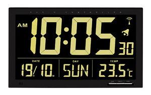 Horloge-murale-radio-pilotee-Vesuve-TFA-60-4505-Noir-de-bureau-salle-d-039-attente