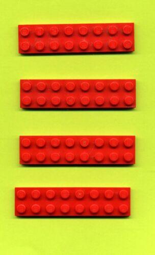 Lego--3034 Bauplatte Rot 2 x 8 Grundstein 4 Stück