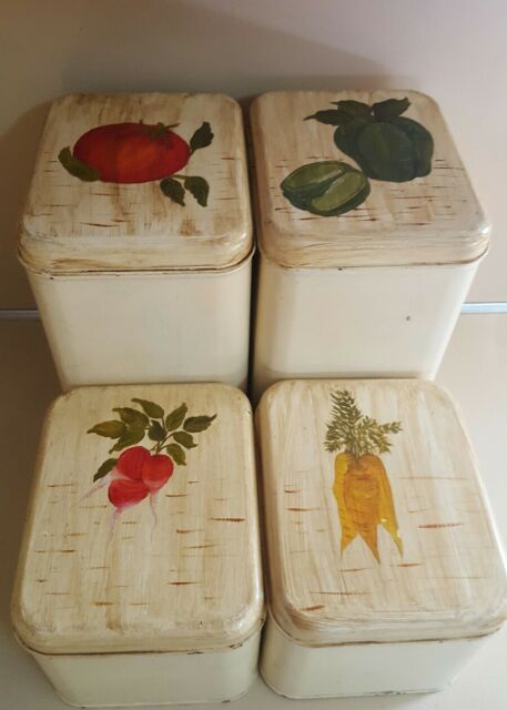 4 Beige Metal Canisters Space Saver by Harvell with Vegetable Design
