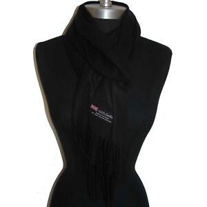 9d0b126d63a35 Echarpe unisexe laine chaude 100 % cachemire d Ecosse unie NOIRE top ...