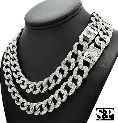 "Hip Hop Silver PT Full Iced 18/"" Cuban /& 16/"" Bling Choker Chain Fashion Necklace"