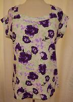 Susan Lawrence Purple Floral Top Square Neck Cotton Cap Sleeves Size Large