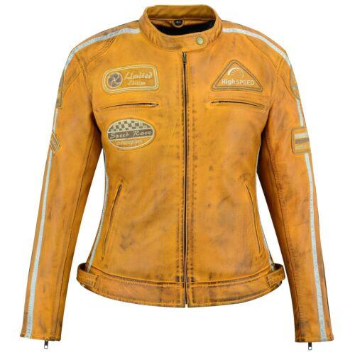 MOTO Biker Giacca di Pelle Donna Retrò Vintage Chopper Giacca di pelle taglia 36-44
