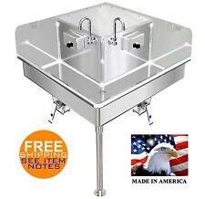 Corner Hand Sink Industrial 2 Station 36x36 Hands Free Stainless Steel 304 14ga