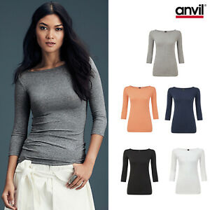 Anvil-Women-039-s-Stretch-3-4-Sleeve-Tee-2455L-Ladies-Fitted-Boat-Neck-Casual-Top