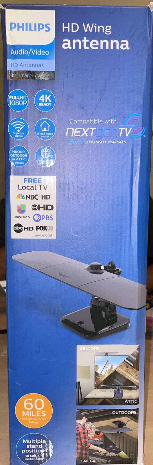 Philips Wing HDTV Antenna Indoor Attic Outdoor Mountable Full HD 1080P - 60 mile. Available Now for 22.00