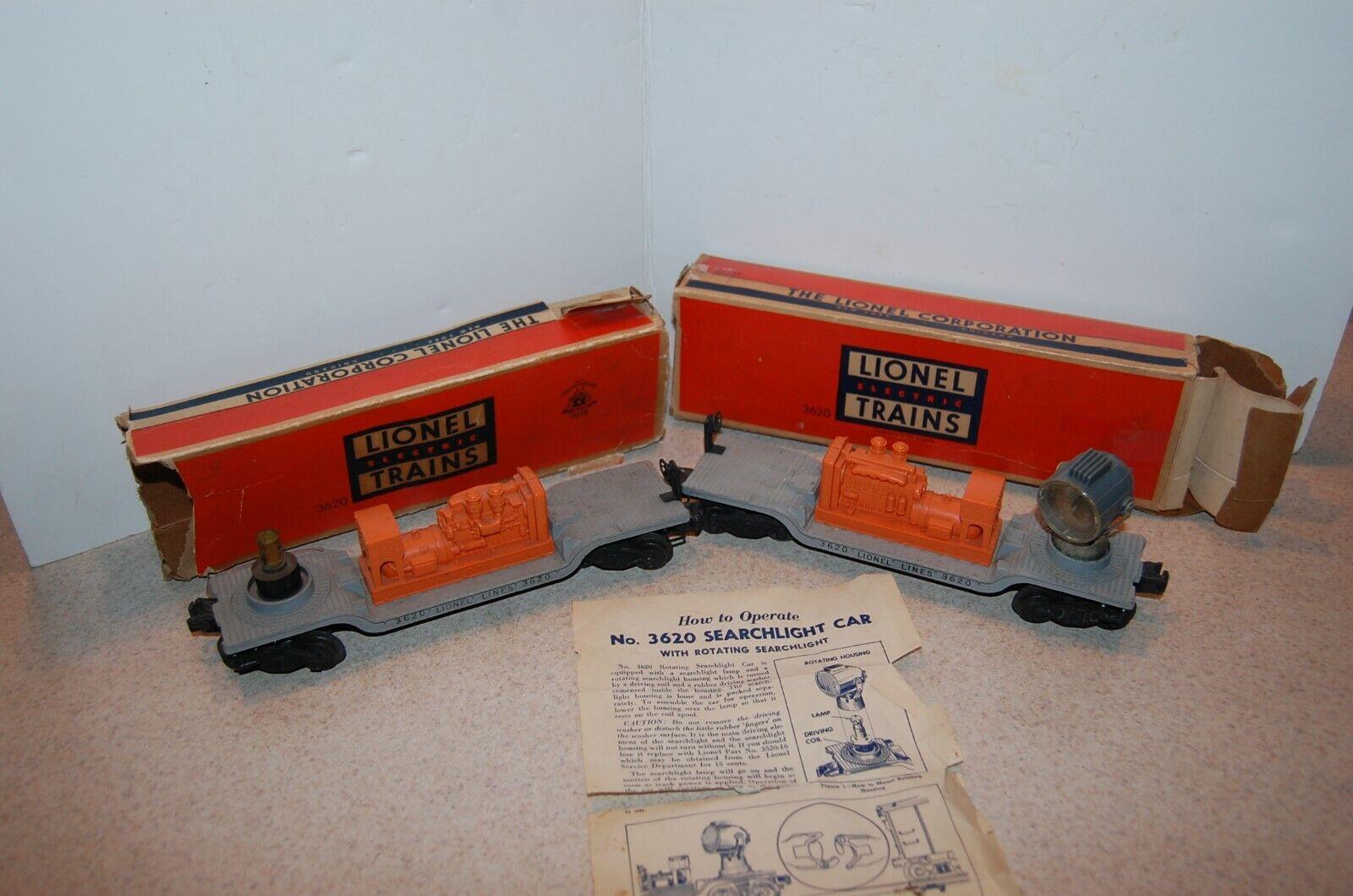 2 Lionel de posguerra no 3620 Giratorio Reflector coches En Cajas Originales