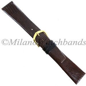 20mm-Gilden-Brown-Luxury-Flat-Genuine-Wild-Lizard-Tapered-Mens-Watch-Band-Reg