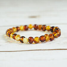 Genuine Natural Baltic Amber Bracelet Beads Multicolor Rubber String Universal