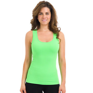 33993009bcc928 Image is loading Sugarlips-Women-039-s-Seamless-Ribbed-Racerback-Neon-