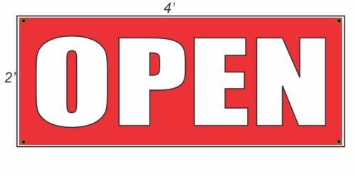 2x4 OPEN Red with White Copy Banner Sign NEW