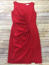 Calvin Klein Womens Size 6 Red Sleeveless Ruched Gathered Fitted Dress Side Slit