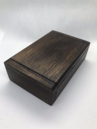 wooden handmade Solid box with lid trinket storage jewelry name card holder gift
