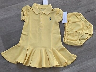 Ralph Lauren Cotton Polo Dress & Bloomer Yellow Girl Size 2/24m Lustrous bnwt gift