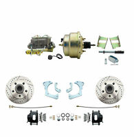65-68 Impala Performance Power Disc Brake Kit, Blk Pc Calipers, D/s Rotors