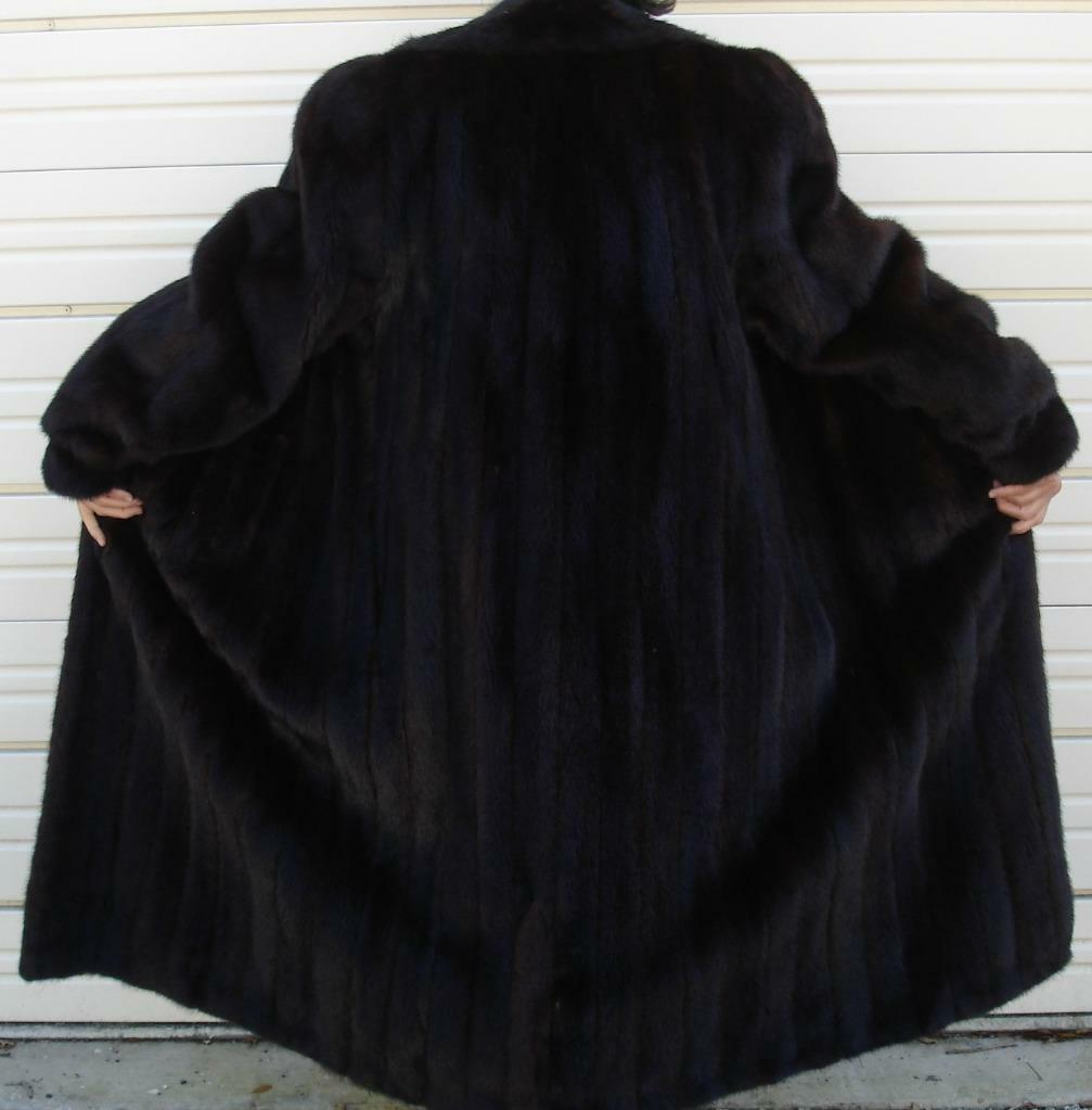 FABULOUS Classic Genuine Ranch Mink Fur Coat Size 16++ Long Long Long Supple Handmade USA 8befda