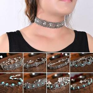 Vintage-Metal-Silver-Choker-Necklace-Statement-Bohemian-Chain-Women-Girl-Gift