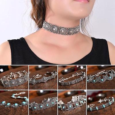 Popular Women Vintage Ethnic Boho Silver Collar Choker Carved Bead Neck Necklace